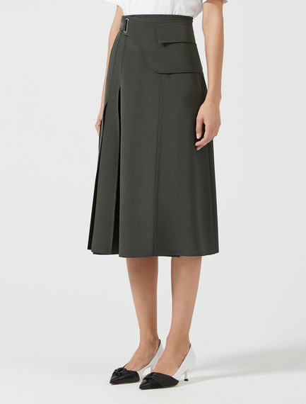 Laser-Cut Silk Midi Skirt