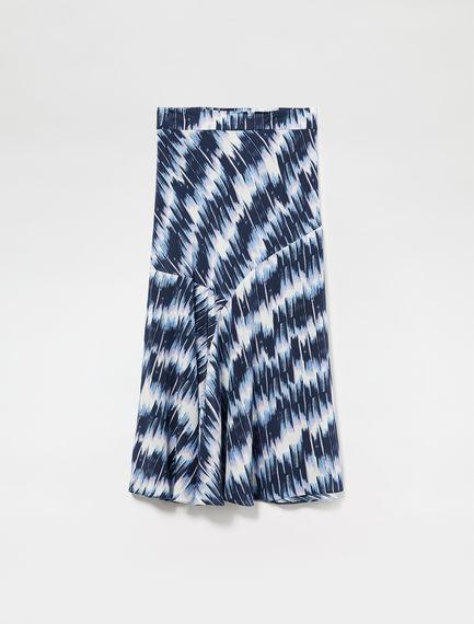 Oscillating Brushstroke Silk Skirt