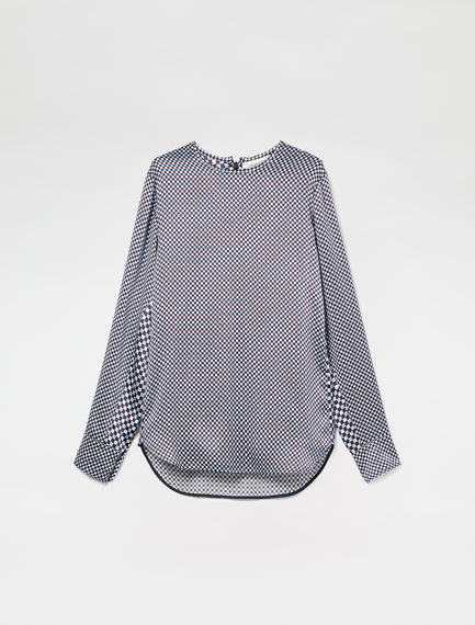 Contrasting Silk Satin Gingham Blouse