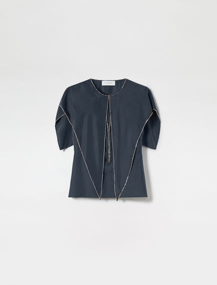 Caped Point-front Silk Top