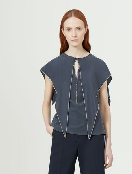 Caped Point-front Silk Top Sportmax