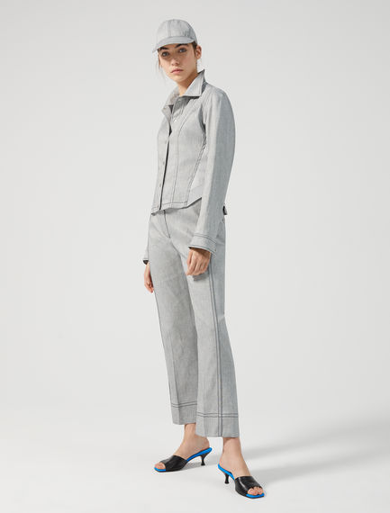 Denim-effect Cotton Linen Trousers