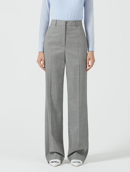 High-Waist Wool Houndstooth Trousers