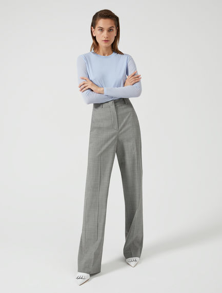 High-Waist Wool Houndstooth Trousers Sportmax