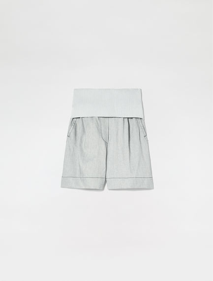 Denim-effect Cotton Linen Shorts