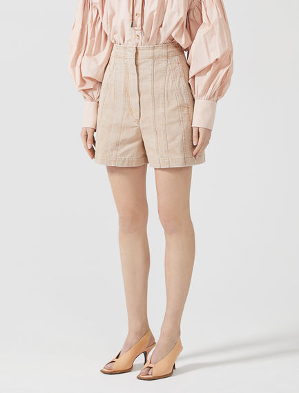 Laminated Pleat Shorts