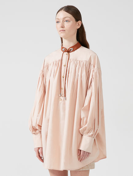 Gathered Poplin Shirt