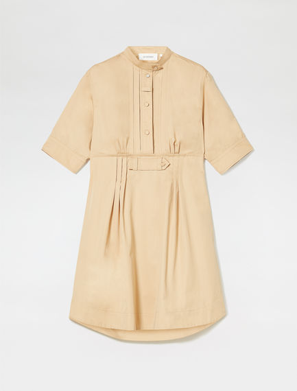 Pleat-front Cotton Shirtdress