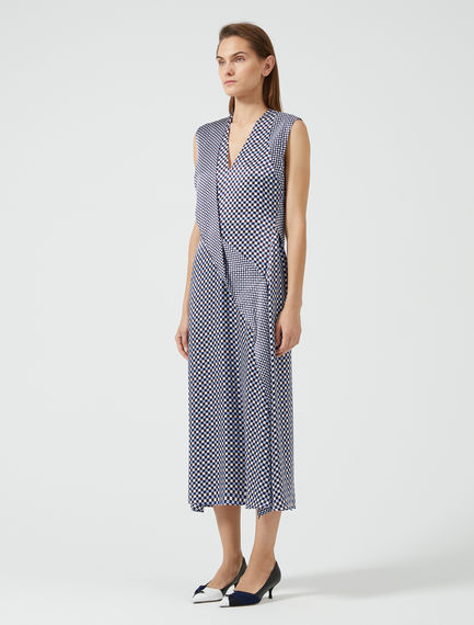Chequered Silk Ruffle Dress