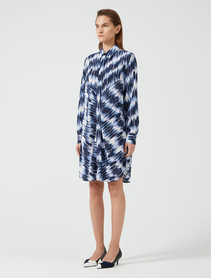 Brushstroke Crepe Shirtdress