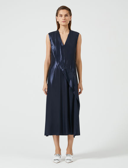 Laminated Crepe Waterfall Dress