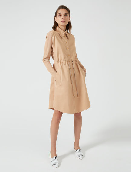 Shirred Gabardine Shirtdress