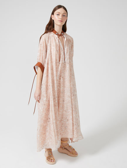 Printed Chiffon Peasant Dress Sportmax
