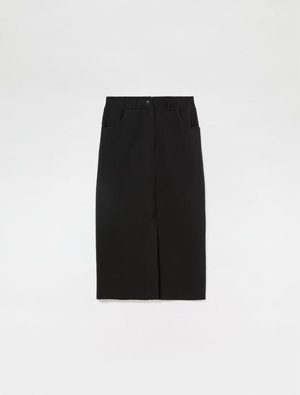 Denim-Detail Midi Skirt