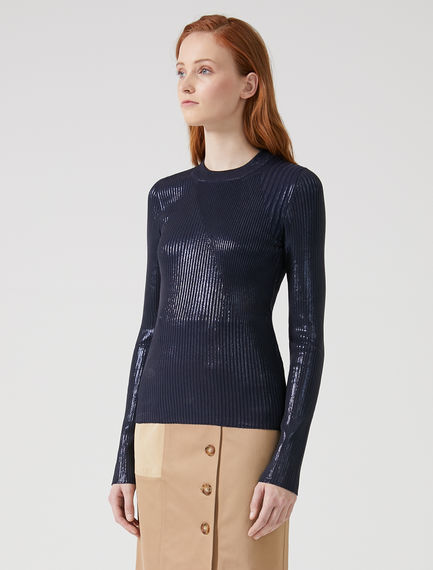 Laminated Rib Knit Sweater