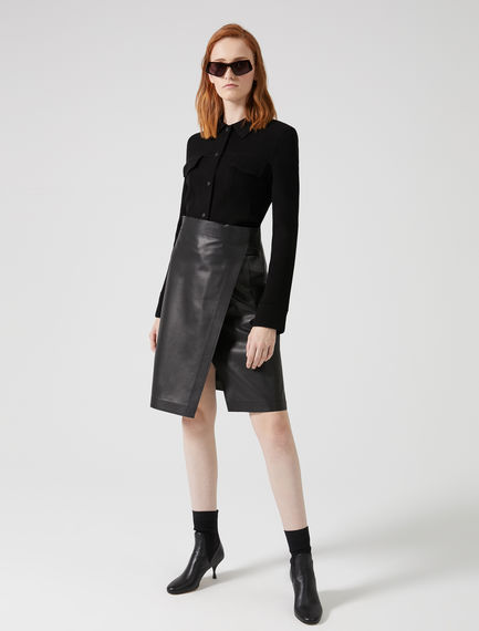 Slashed Nappa Leather Skirt Sportmax