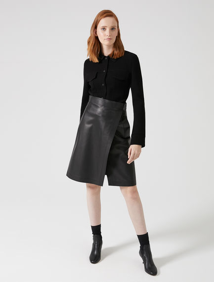 Slashed Nappa Leather Skirt