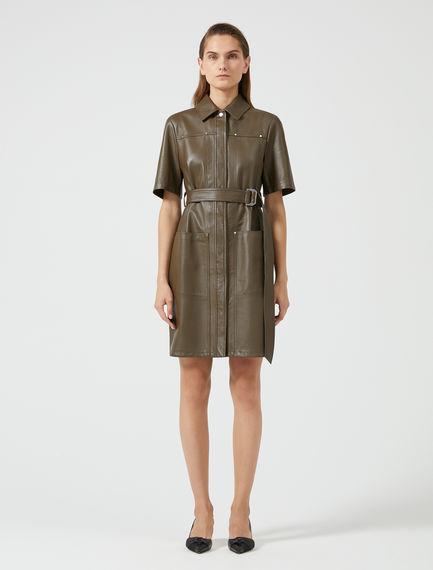 Studded Leather Shirt Dress