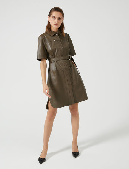 Studded Leather Shirt Dress