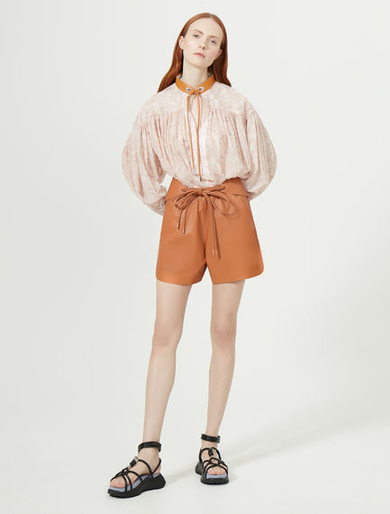 Nappa Leather Boyfriend Shorts Sportmax