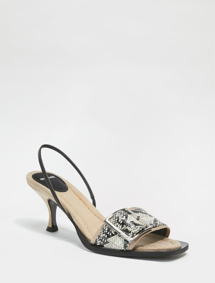 Snakeskin-Effect Leather Slingback Sandals