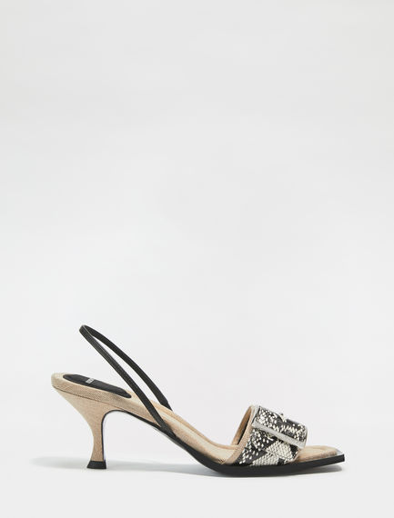 Snakeskin-Effect Leather Slingback Sandals Sportmax