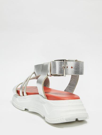 Mirrored Leather Lattice Trek Sandals