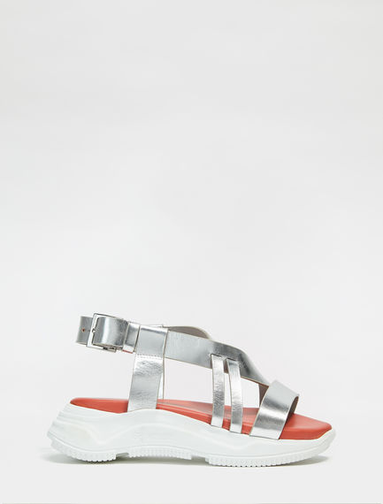 Mirrored Leather Lattice Trek Sandals Sportmax