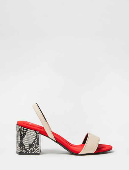 Snakeskin Leather Block Heels