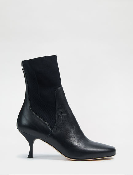 Leather/Knit Kitten Heel Sock Boots Sportmax