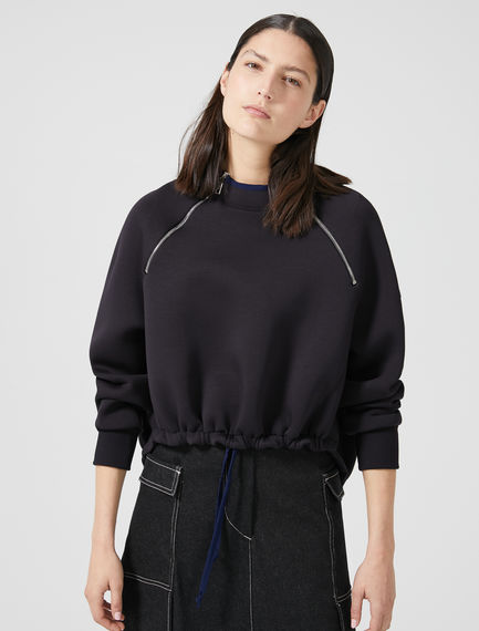 Drawstring Neoprene Sweatshirt