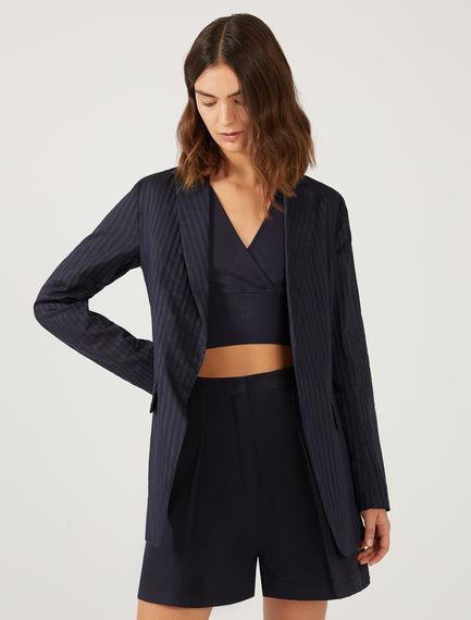 Silk & Cotton Pinstripe Blazer Sportmax