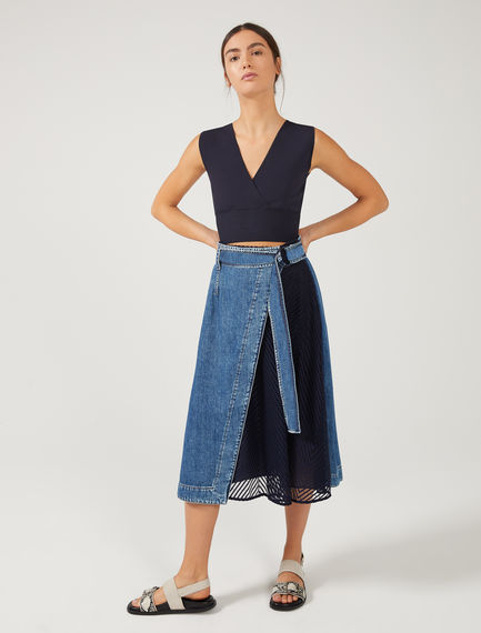 Denim & Tulle Wrap Skirt Sportmax