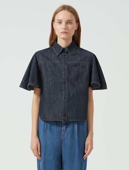 Camicia in denim con maniche godet