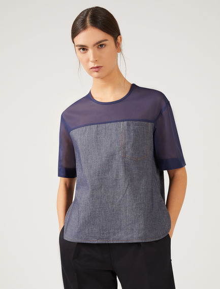 T-shirt in denim e organza Sportmax