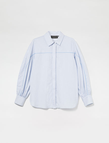 Piped Cotton Poplin Shirt