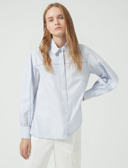 Piped Cotton Poplin Shirt Sportmax