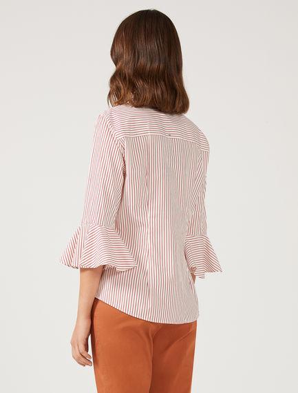 Pinstripe Poplin Flounce Shirt