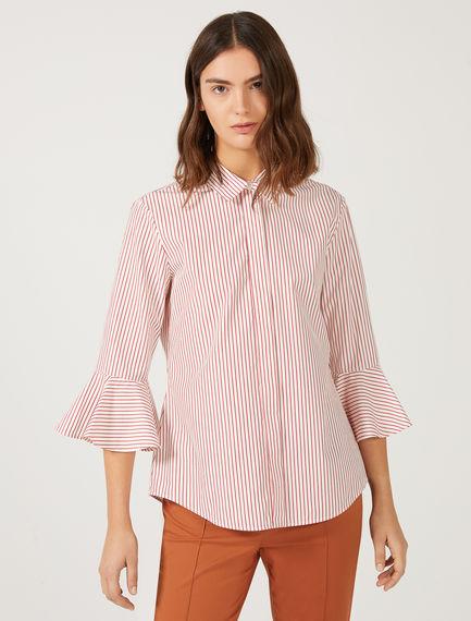 Pinstripe Poplin Flounce Shirt Sportmax