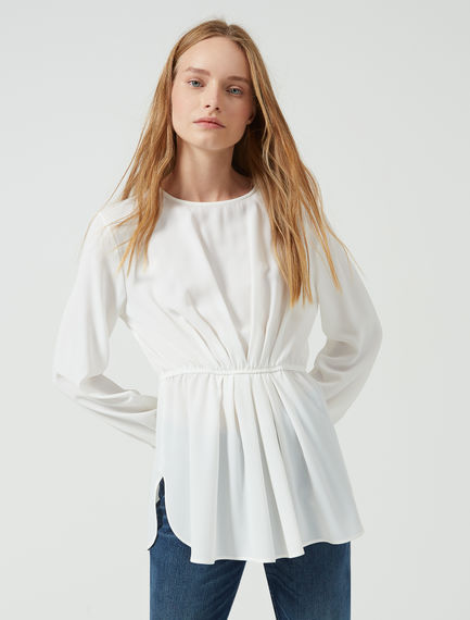 Pleated Silk Crêpe Tunic