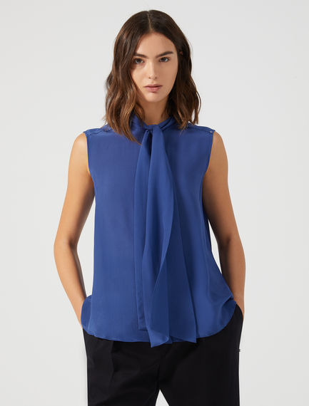 Top in seta con sciarpa Sportmax
