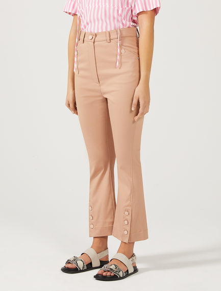 Button Kick-Flare Cropped Trousers