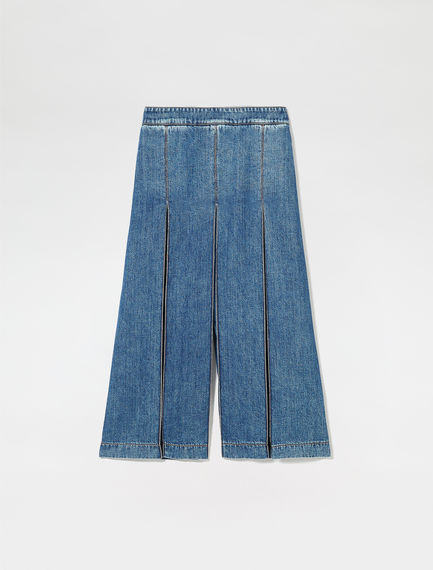 Accordion Pleat Denim Culottes Sportmax
