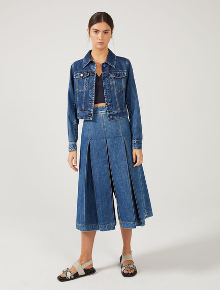 Accordion Pleat Denim Culottes