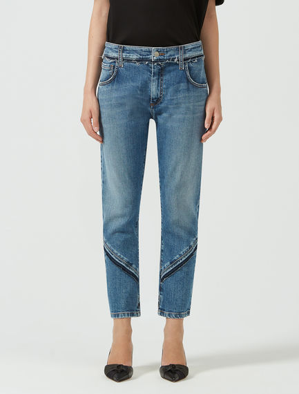 Oblique Fringed Jeans