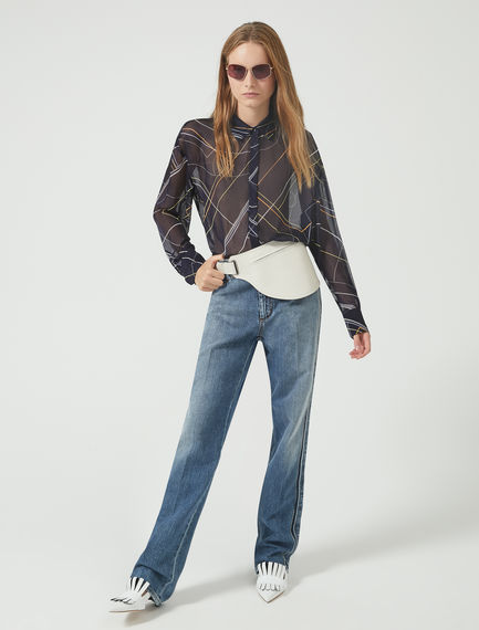 Washed Out Fringe Jeans Sportmax