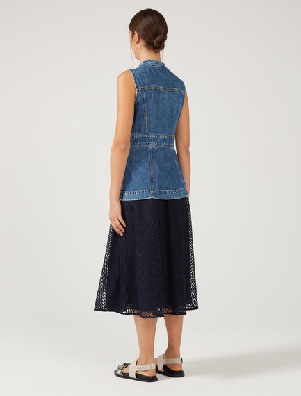 Hybrid Denim & Tulle Midi Dress
