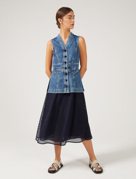Hybrid Denim & Tulle Midi Dress Sportmax