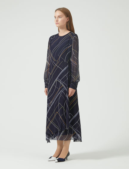 Graphic Collision Chiffon Dress