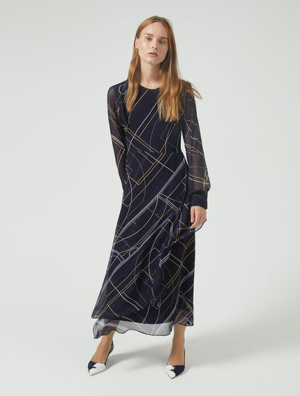 Graphic Collision Chiffon Dress Sportmax